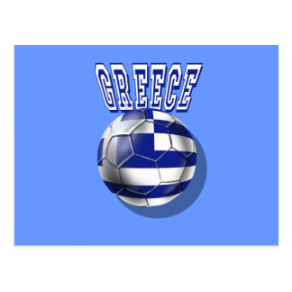 Greece soccer ball worded logo postcard
