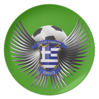 Greece Soccer Champions Dinner Plate