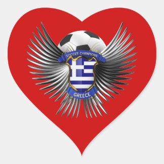 Greece Soccer Champions Heart Sticker