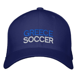 GREECE SOCCER EMBROIDERED BASEBALL HAT