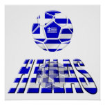 Greece Soccer Hellas Logo Soccer Ball Gifts Poster