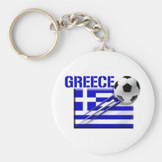 Greece Soccer logo Greek flag football gifts Basic Round Button Keychain