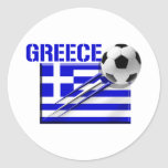Greece Soccer logo Greek flag football gifts Classic Round Sticker