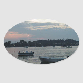 greece sunset oval sticker