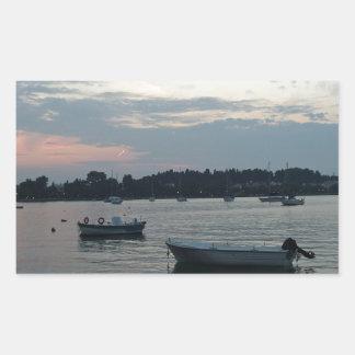 greece sunset rectangular sticker