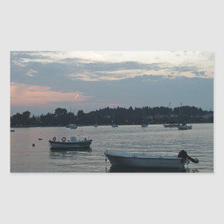 greece sunset rectangle stickers
