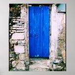 Greece traditional blue door POSTER