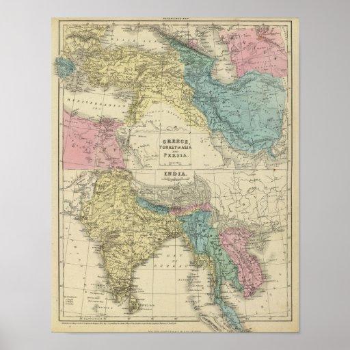 Greece, Turkey, Persia, India Poster