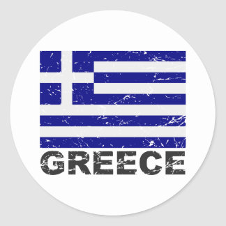 Greece Vintage Flag Classic Round Sticker