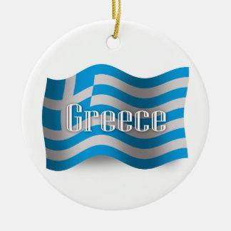 Greece Waving Flag Ceramic Ornament