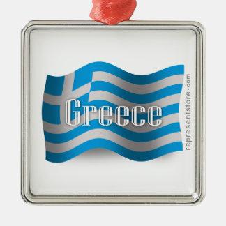 Greece Waving Flag Metal Ornament