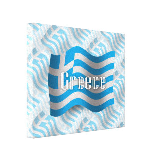 Greece Waving Flag Stretched Canvas Print