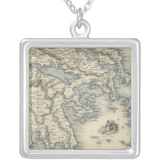 Greece with inset maps of Corfu and Stampalia Square Pendant Necklace