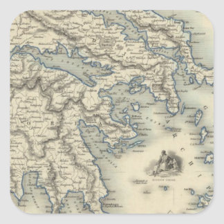 Greece with inset maps of Corfu and Stampalia Square Sticker