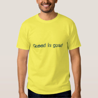 Greed is goad T-shirt (Stong Blue on Yellow)