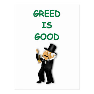 greed is good post cards