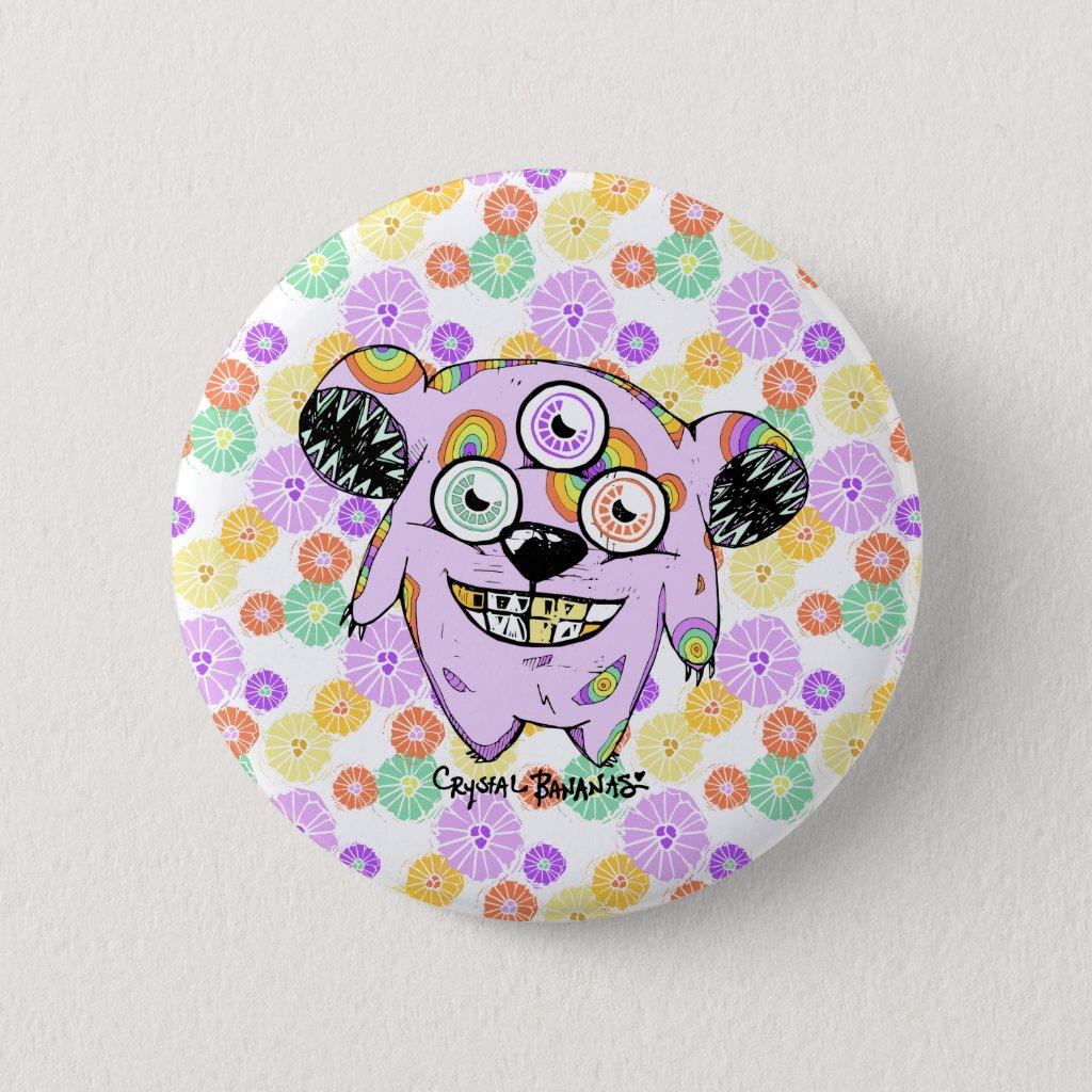 """Greedy 3-Eyed Bear"" Monster Button"