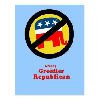 Greedy Greedier Republican Postcard