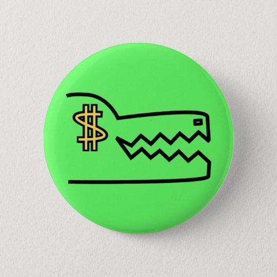 greedy greedy gator. pinback button