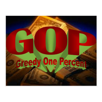 Greedy One Percent Postcard