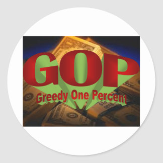 Greedy One Percent Round Sticker