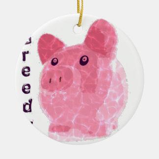 greedy pig ceramic ornament