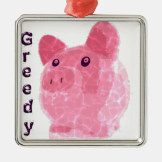 greedy pig metal ornament