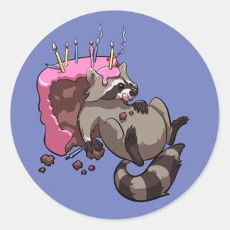 Greedy Raccoon Full of Birthday Cake Cartoon Classic Round Sticker