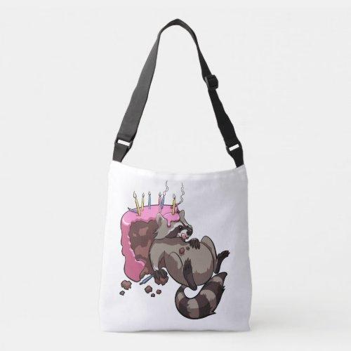 Greedy Raccoon Full of Birthday Cake Cartoon Crossbody Bag