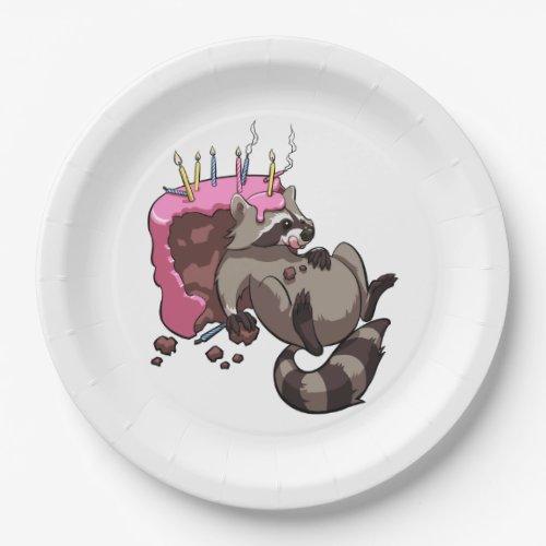 Greedy Raccoon Full of Birthday Cake Cartoon Paper Plate