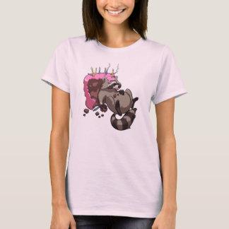 Greedy Raccoon Full of Birthday Cake Cartoon T-Shirt