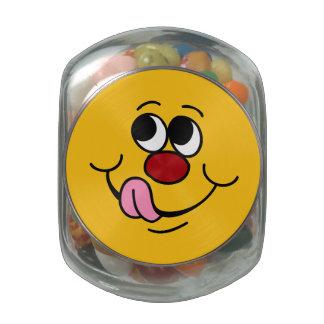 Greedy Smiley Face Grumpey Glass Jar