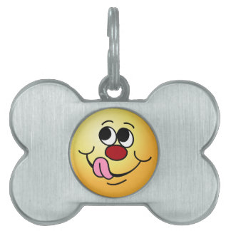 Greedy Smiley Face Grumpey Pet Name Tag