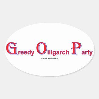 GreedyOiligarchParty Oval Sticker
