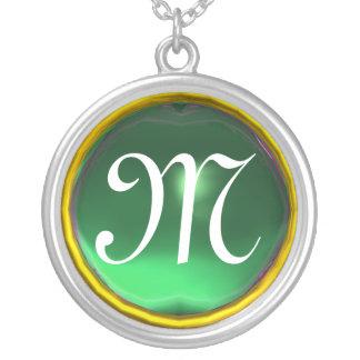 Greeen Jade Gem  Monogram Necklaces