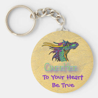 GreeHee The Big Hearted Deep Thinking Dragon Basic Round Button Keychain