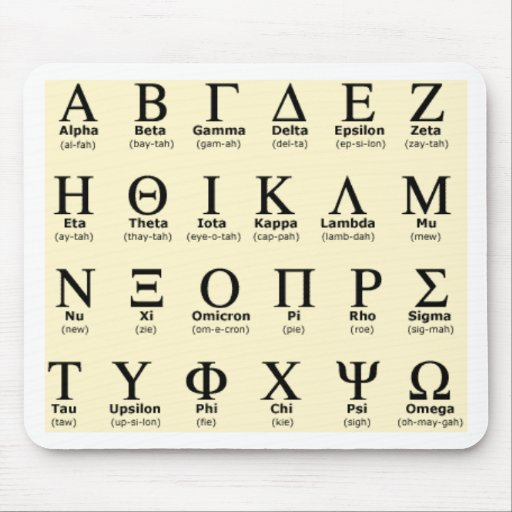 greek alphabet gifts mouse pad