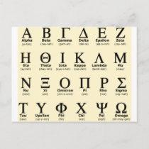 greek alphabet gifts postcard