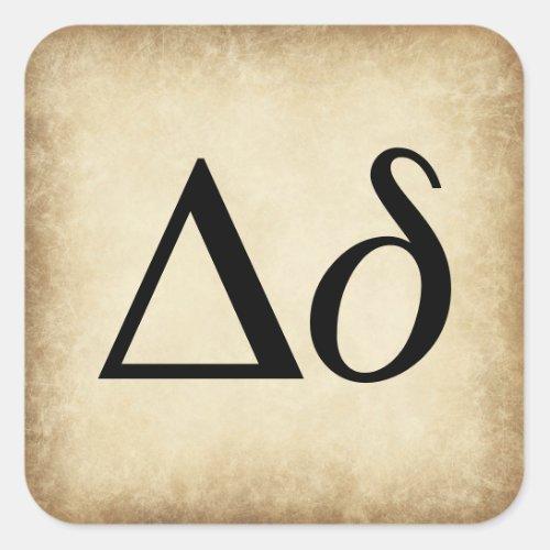 Greek Alphabet Letter Delta Square Sticker