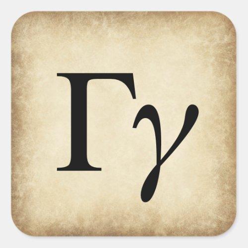 Greek Alphabet Letter Gamma Square Sticker