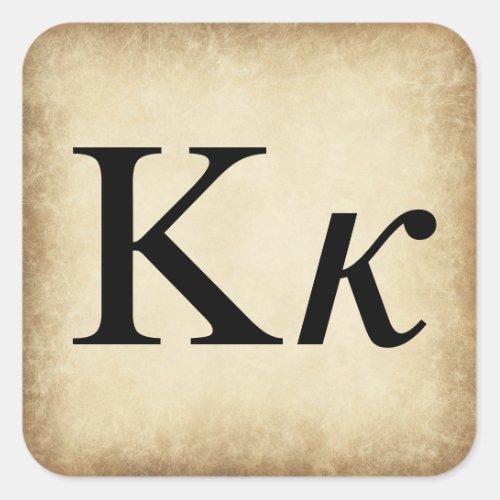 Greek Alphabet Letter Kappa Square Sticker
