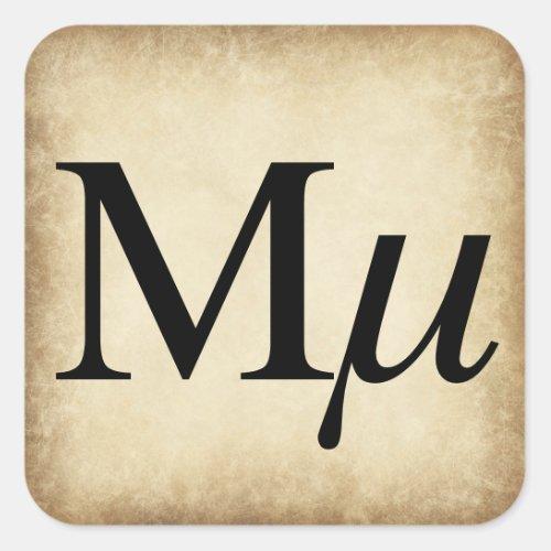 Greek Alphabet Letter Mu Square Sticker