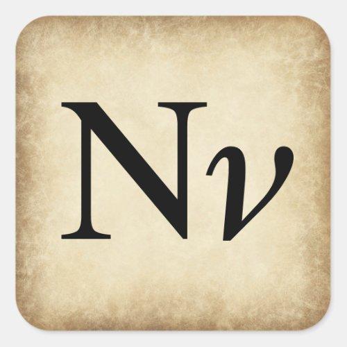 Greek Alphabet Letter Nu Square Sticker
