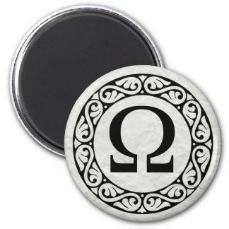 Greek Alphabet Letter Omega 2 Inch Round Magnet