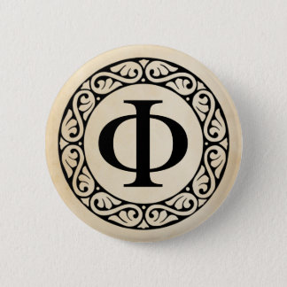 Greek Alphabet Letter Phi Button