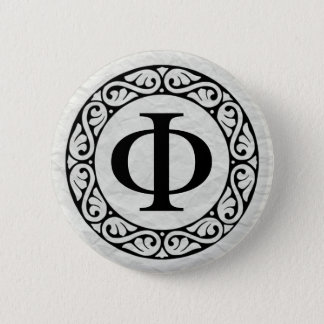Greek Alphabet Letter Phi Pinback Button