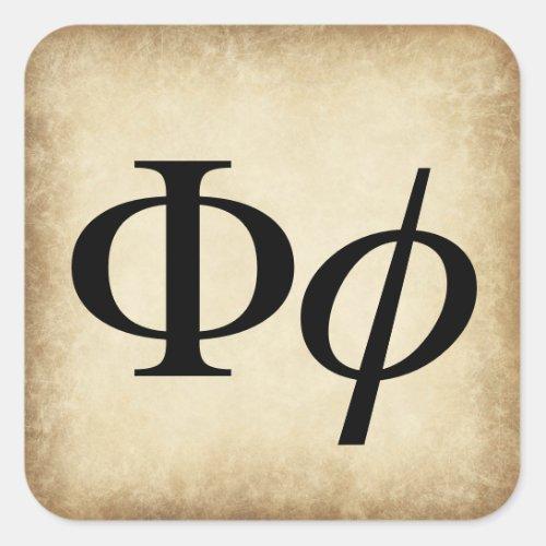 Greek Alphabet Letter Phi Square Sticker