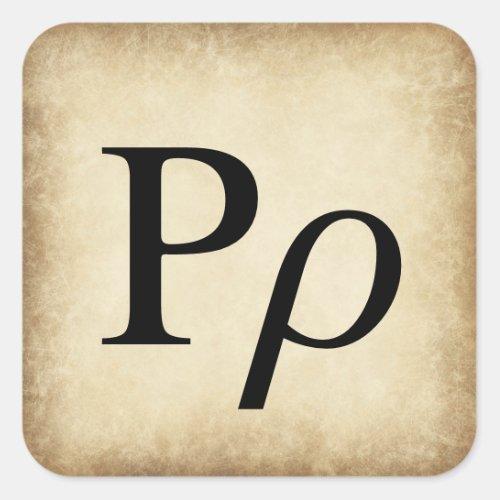 Greek Alphabet Letter Rho Square Sticker