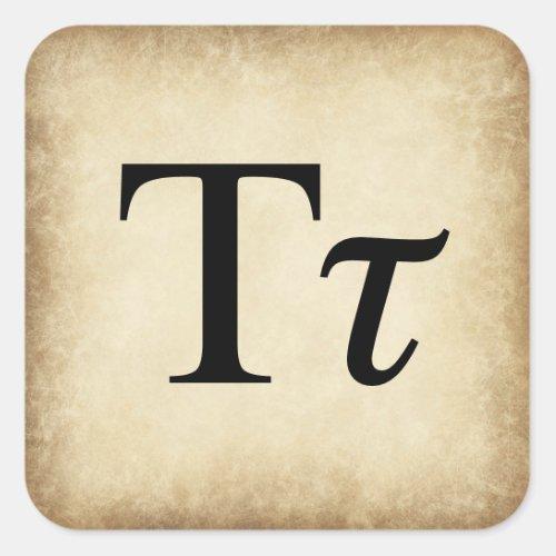 Greek Alphabet Letter Tau Square Sticker