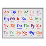 Greek Alphabet Poster--Colorful upper & lower case Poster
